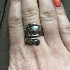Vintage WM A Rogers Oneida silver spoon ring